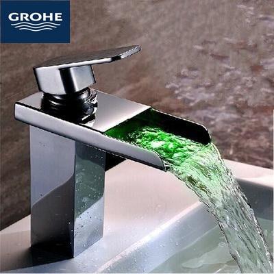 Grohe GROHE volledige koper en LED waterval kraan toilet wastafel ...
