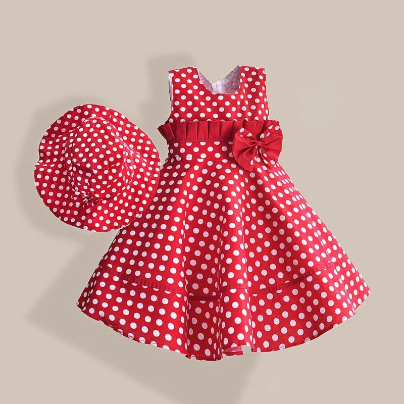 c8f0e7753a0d Été Fille Robe avec Chapeau Rouge Dot De Mode Arc Filles Robes Casual  A-ligne Enfants Vêtements robe fille enfant 3-8 T