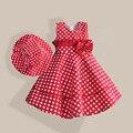 Verão vestido da menina com chapéu Red Dot moda arco meninas vestidos casuais A linha de roupa dos miúdos robe fille enfant 3 - 8 T