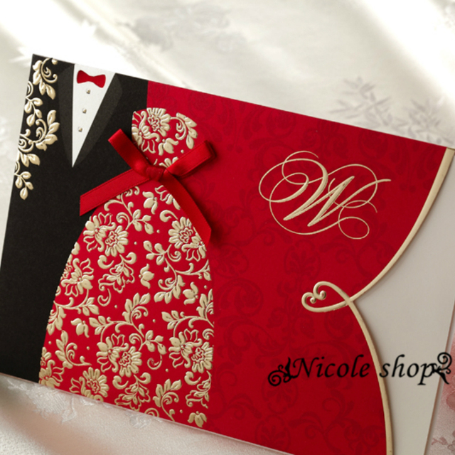 10psc Custom High Grade Red Wedding Invitations Chinese Wedding Invitation  Card Party Supplies For Bride