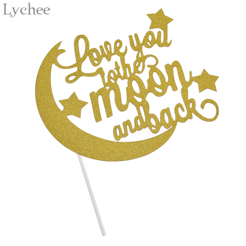 Lychee Love You To The Moon And Back Glitter Cake Topper