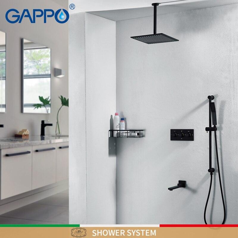 GAPPO Doccia rubinetti nero cascata rubinetto doccia set a parete doccia a pioggia rubinetto miscelatore miscelatore vasca da bagno Rubinetti