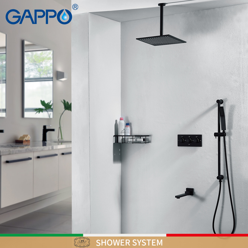 GAPPO Shower faucets black waterfall shower faucet sets wall mounted rainfall shower mixer faucet mixer bathtub Faucets         GAPPO Shower faucets black waterfall shower faucet sets wall mounted rainfall shower mixer faucet mixer bathtub Faucets