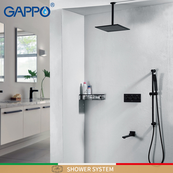 GAPPO Shower faucets black waterfall shower faucet sets wall mounted rainfall shower mixer faucet mixer bathtub Faucets gappo shower faucet bath mixer black massage shower faucets bathtub tap sets shower mixer torneira do anheiro shower faucet sets