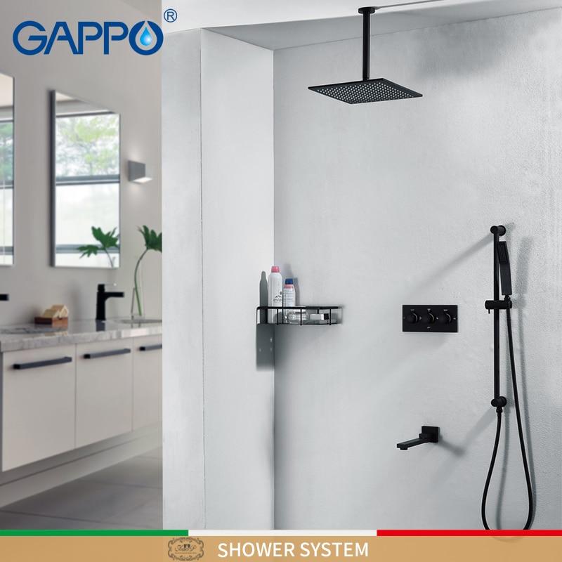 GAPPO robinets de douche noir cascade robinet de douche ensembles mural pluie douche mélangeur robinet mélangeur robinets de baignoire