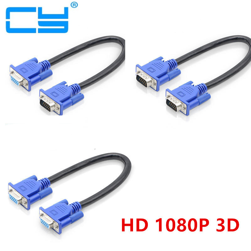 25cm 50cm  HD15Pin VGA D-Sub Short Video Cable Cord Male To Male M/M Male To Female And Female To Female RGB Cable For Monitor