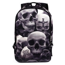 2017 New Fashion Men s Backpack Cool Printing Backpacks Skull Heads Senior High School Bags For