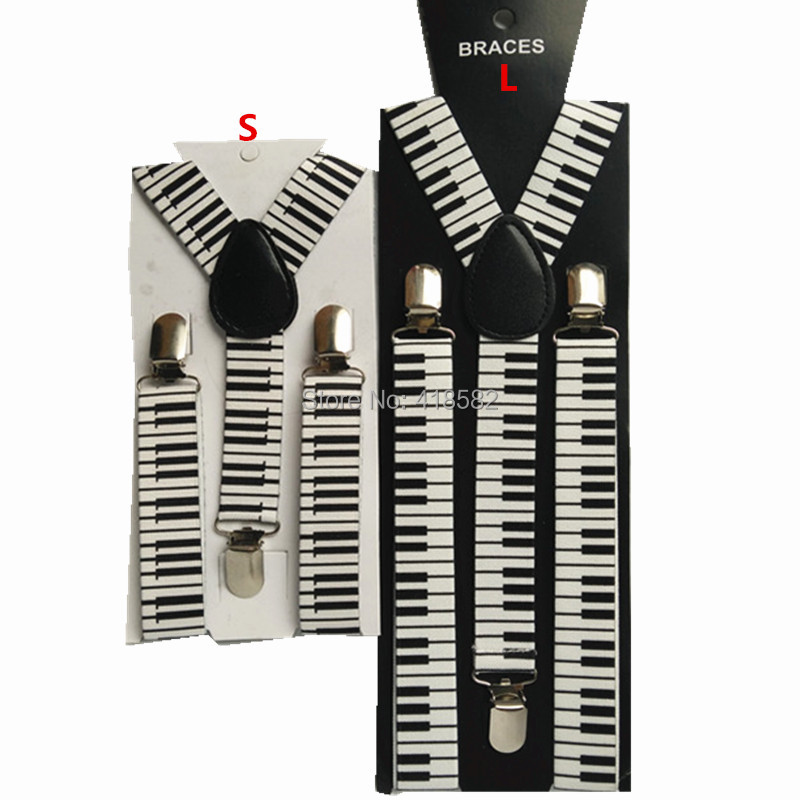 BD032-Best Wedding Gift Piano Print Suspenders For Men And Women High Quality Adult Leather Braces Y-back Kids Braces Free Ship