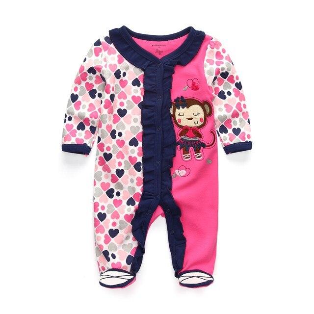 Милый детский комбинезон удобная одежда для новорожденных 0-9 м одежда для малышей, новорожденных одежда для малышей - Цвет: baby girl monkey