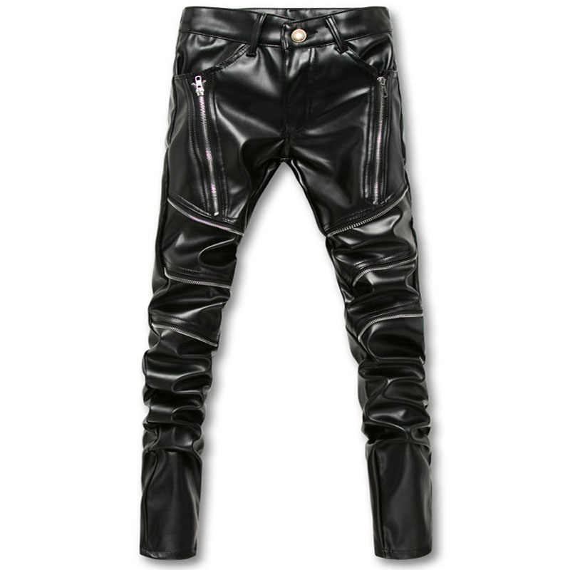 248af6379ec New Dropshipping Arrival Biker Skinny Men Gothic Punk Fashion Leather Pants  PU Buckles Hip Hop Zippers