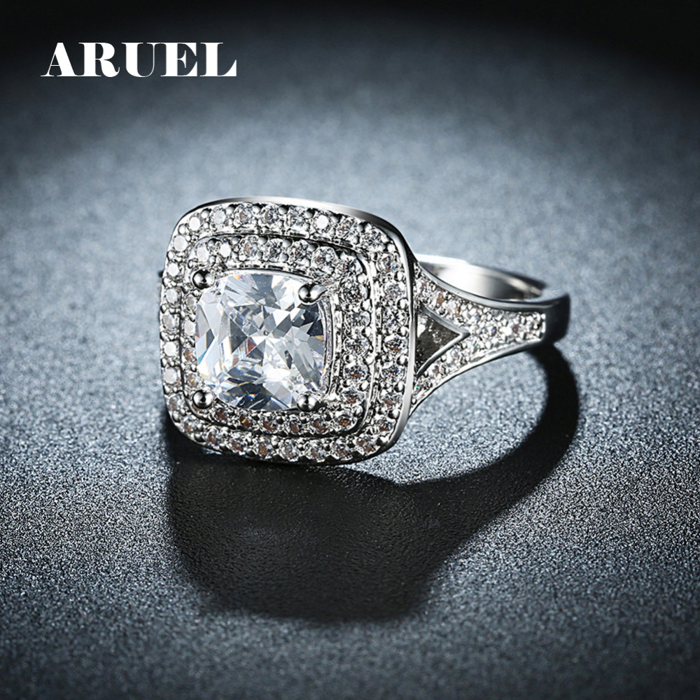ARUEL Luxury Wedding Rings For Women Big Square Cubic Zircon Finger Rings Anel White Gold Color Engagement Jewelry Gift Size 6-9