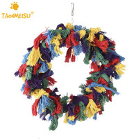 1pcs Pet Birds Large Size Cotton Ring Circle Toys Colorful Hanging Stand Chew Bait Toy For
