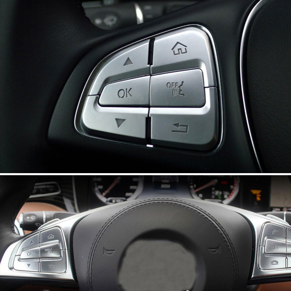 BBQ@FUKA 12pcs Car Steering Wheel Button Switch Trim Cover Fit For Benz A B C Class A200 AMG B250 C200/300/250 CLA250 CLS500 mewant black suede car steering wheel cover for mercedes benz c180 c200 c350 c300 cls 280 300 350 500 glk 300 2008 2010