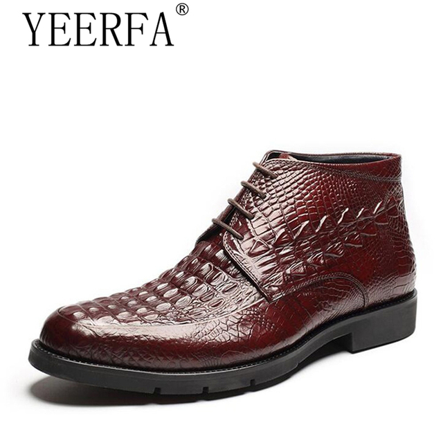 4b3975d665d US $89.46 40% OFF|mens genuine leather martin boots fashion crocodile skin  ankle boots lace up winter boots for men burgundy work shoes new-in Basic  ...