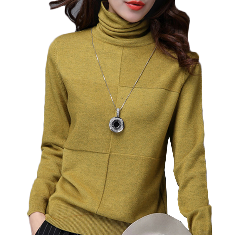 Turtleneck Sweater Female 2018 Autumn Winter Knitt Pullover Loose Long Sleeve Comfortable Soft Bottoming Shirt Female Sweater 47