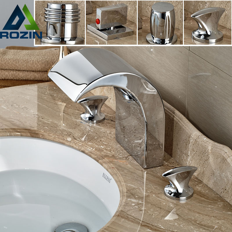 Deck Mount Dual Handle Waterfall Basin Tub Sink Faucet Chrome Brass Tub Sink Mixer Taps in Chrome