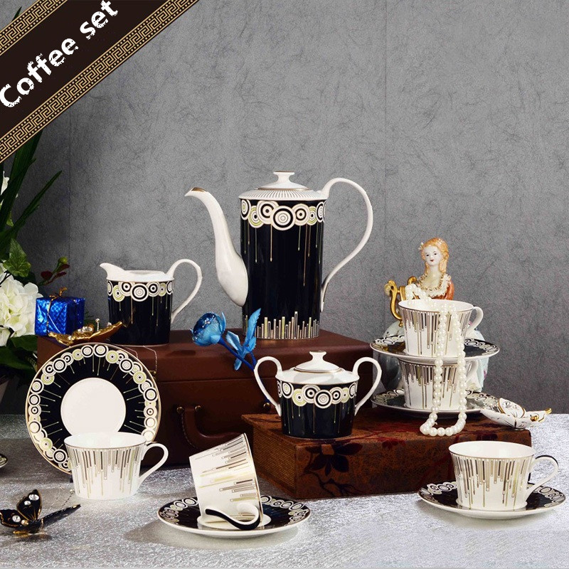 Porcelaine Café Thé Ensemble Thé Pot Suger Bol Lait Pot Ensemble de vaisselle Ensemble Complet Vaisselle Noir Et Blanc Conception Tasse Et Sauer