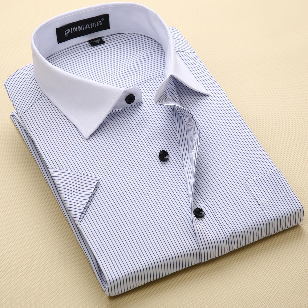 64bdfaedb58 Brand Men s Striped Shirts Casual Social Business Formal Shirt High Quality Short  Sleeve Dress Shirt For Men Plus Size 5XL-8XL