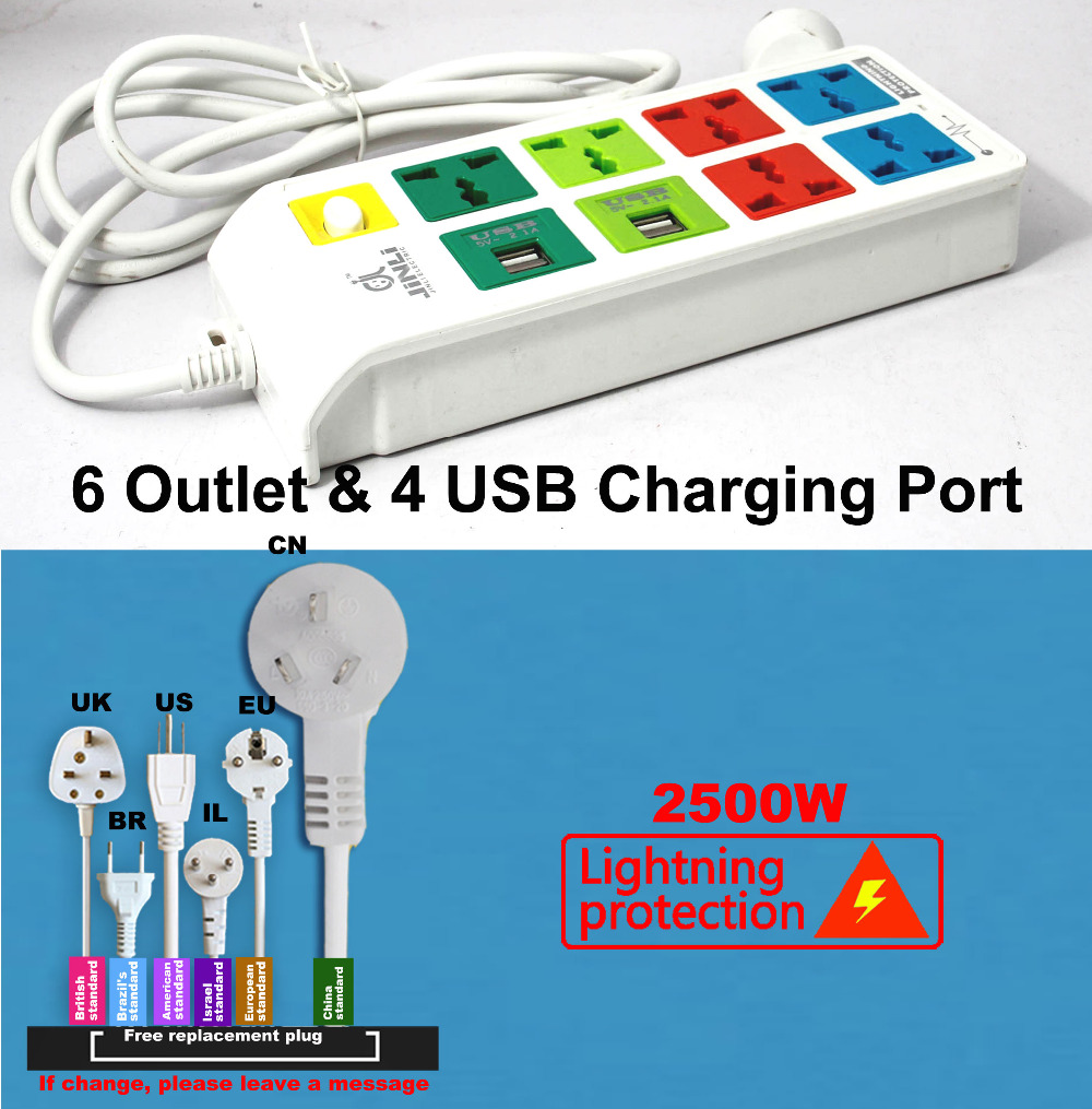 Multi USB charger Lightning protection system plug-in patera with EU UK US type аксессуар usams us sj194 usb type c lightning 1 2m blue