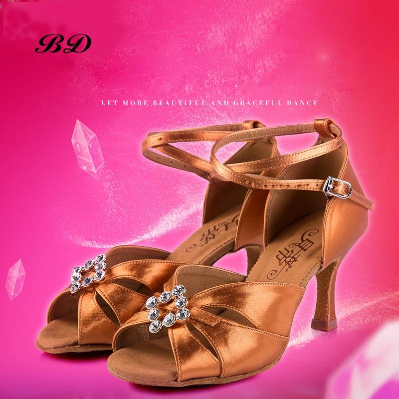 Drilling Sports Dance shoes Women Rhinestone Handmade BD 258 Ballroom Latin Shoes Ballroom Girl Student Shoe