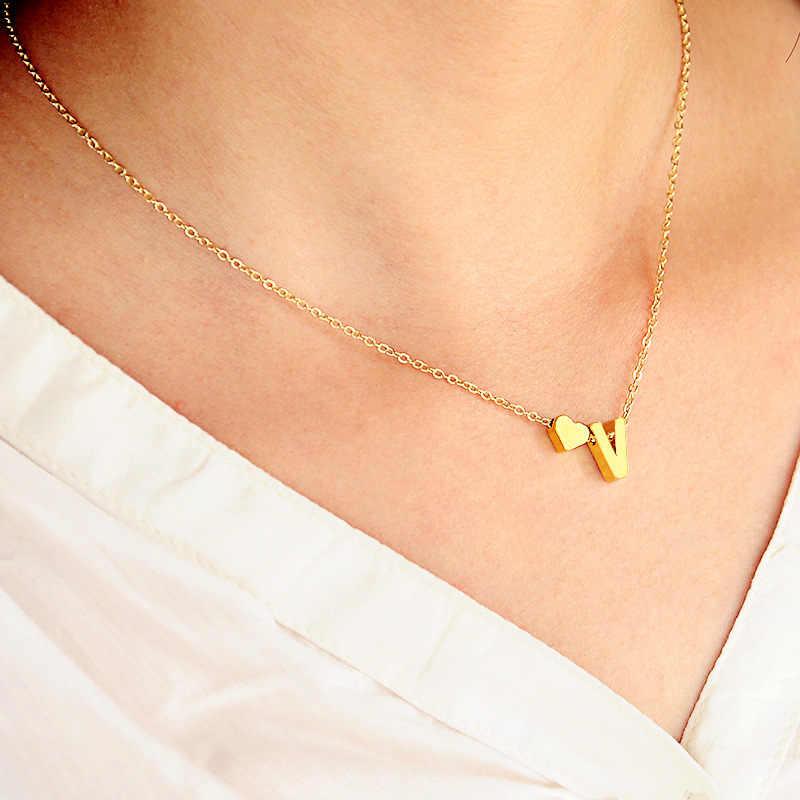Quente 26 carta & coração-em forma de pingente charme colares para mulheres simples cor de ouro nome colar amantes presente inicial gargantilha