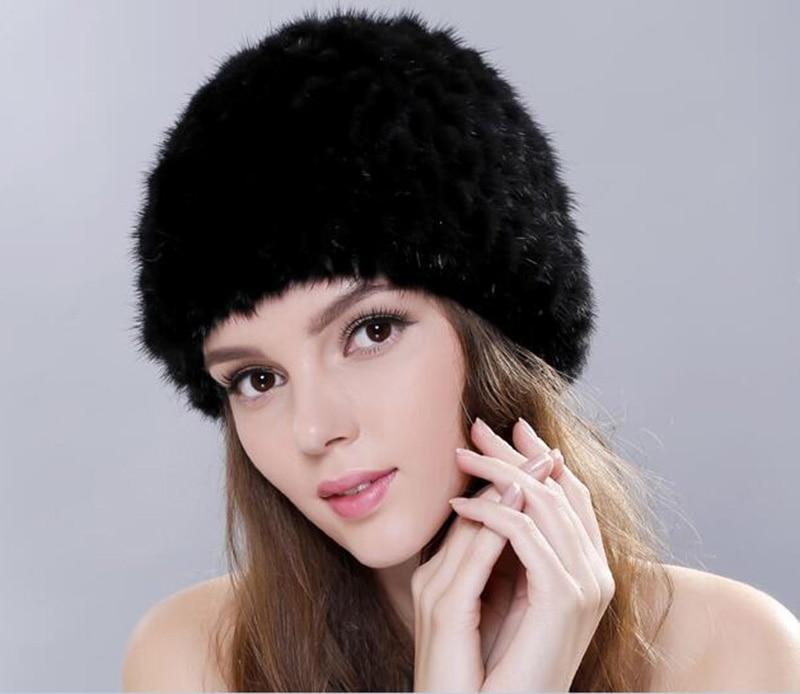 Cappelli di Inverno delle donne con Naturale Vera Pelliccia di Inverno Cappelli Di Pelliccia Di Visone Real Maglia Ananas Cappello per le Donne
