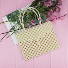 Ladies Summer Woven Wave Briefcase Imitation Pearl Cross-section Fashion Tote Handmade Beaded Large Mobile Phone Bag