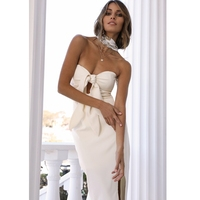 Sexy Off Shoulder Dress 2019 Fashion Bow Design Hollow Out Strapless Straight White Dress Elegant Summer Evening Party Vestidos