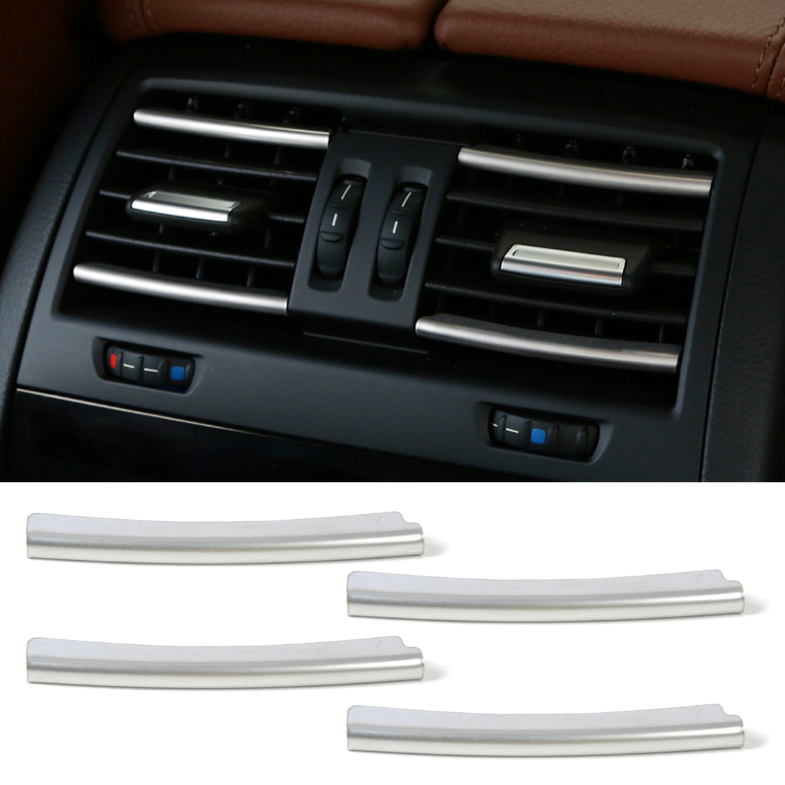 DWCX car-styling Rear Air Condition Vent Outlet Grille Cover Trim Strip For BMW 5 Series F10 F18 2011 2012 2013 2014 2015 2016