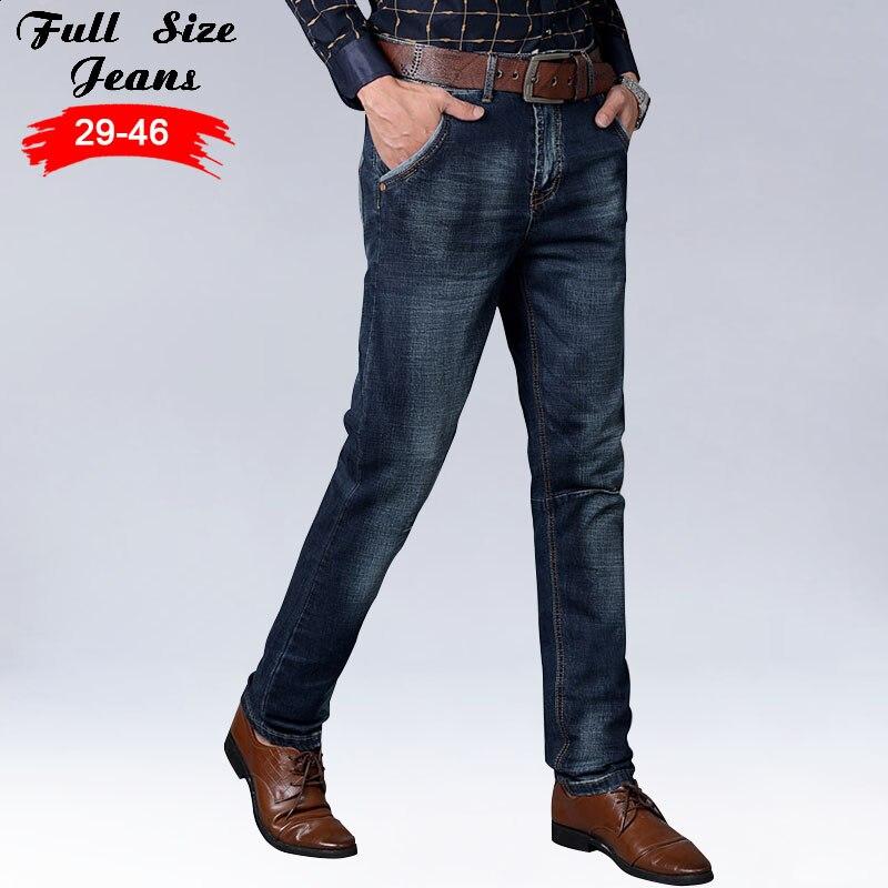 2017 Autumn Spring Designer Plus Size Dark Blue Straight Jeans Men 42 44 46 5xl 6xl 7xl Casual Slim Fit Skinny Jeans napapijri guji check dark blue