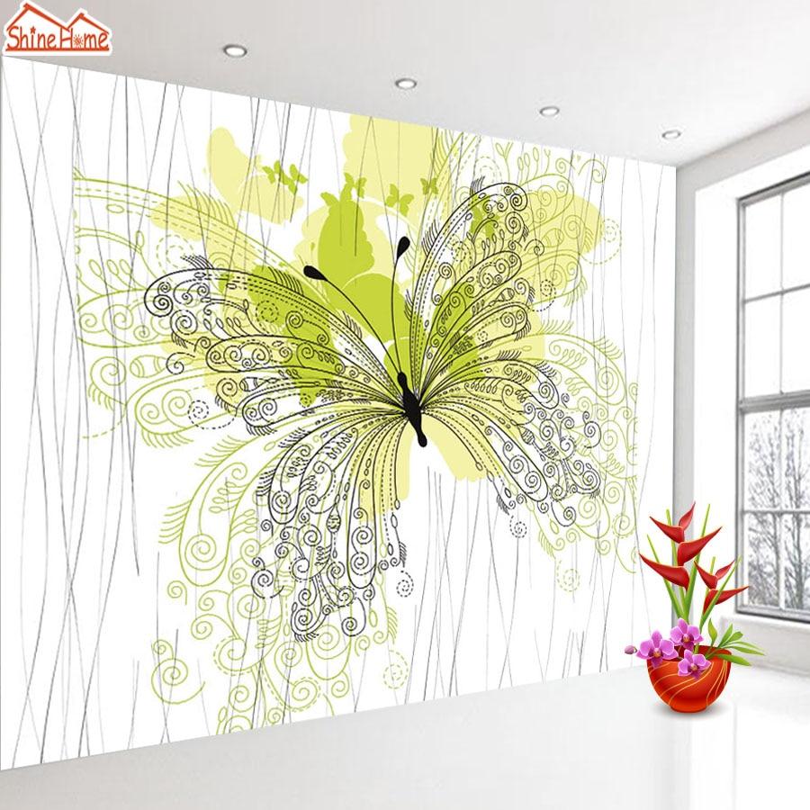 ShineHome Kupu Kupu Nordic Dinding Gambar Wallpaper 3d