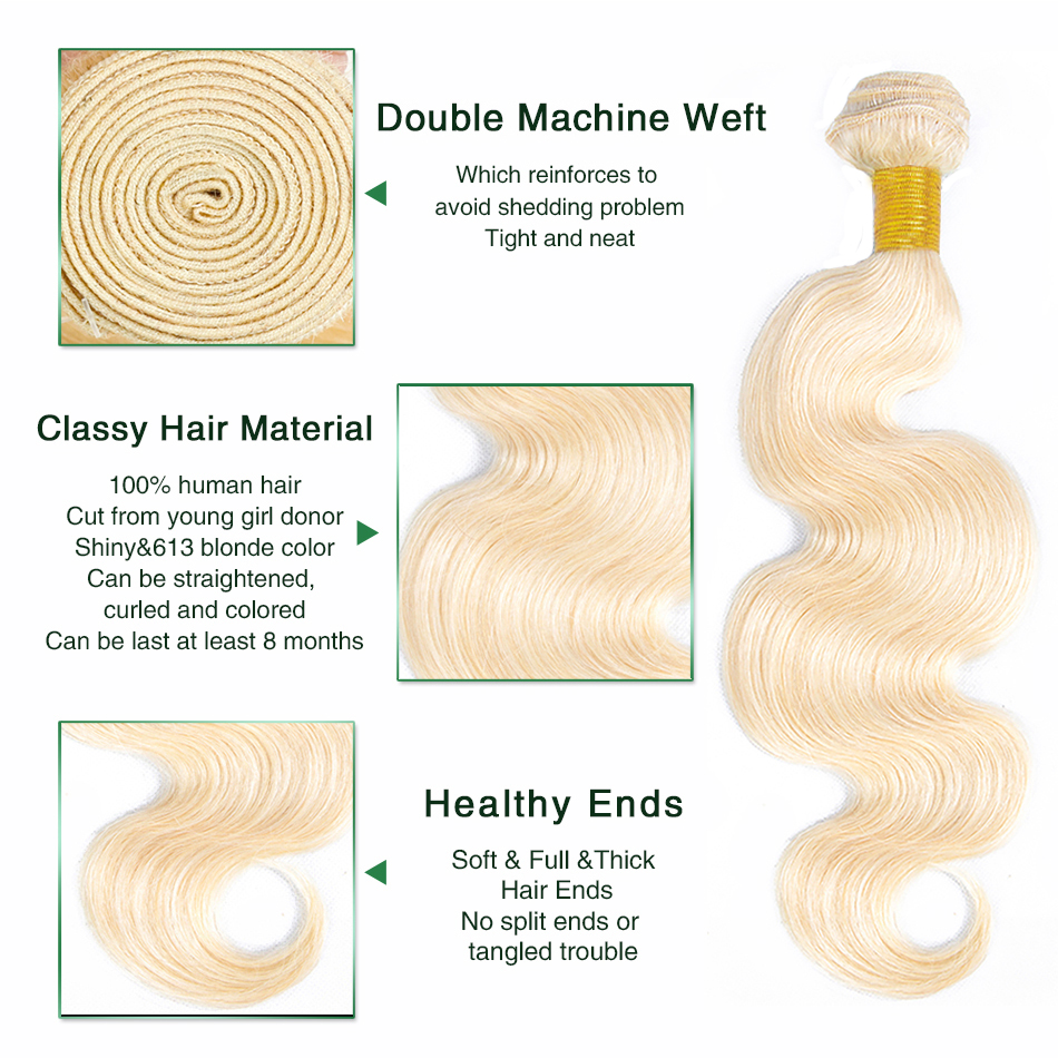 Plecare 613 Bundles With Frontal Blonde Bundles With Frontal Brazilian Body Wave 100% Human Hair Extensions Non remy-in 3/4 Bundles with Closure from Hair Extensions & Wigs    2