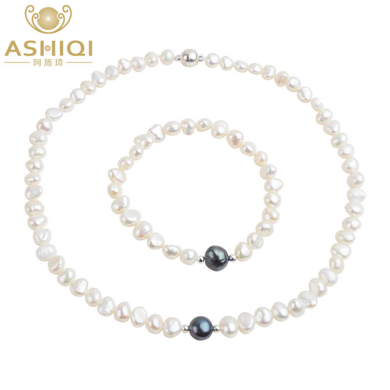 ASHIQI Real Freshwater Pearl Jewelry set for Women with Pure 925 Sterling Silver Beads Handmade Necklace Bracelet Bridal Gift