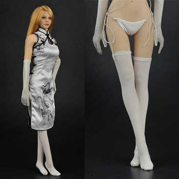 1/6 scale female sexy lady clothing Chinese style white dragon cheongsam costume for 12\'\' woman girl action figure accessory