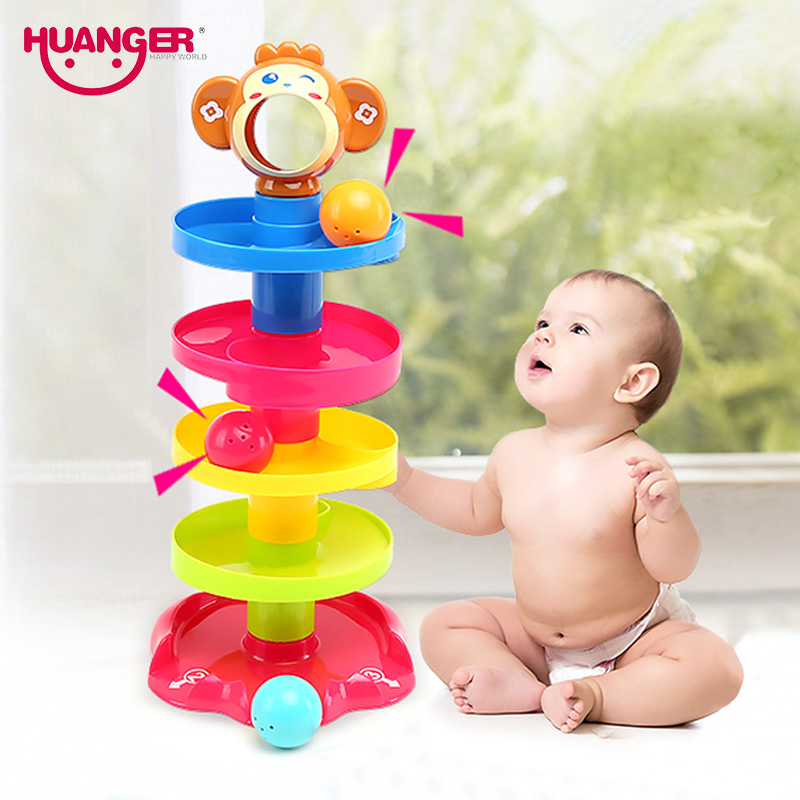 Huanger Baby Rolling Ball Bell Toys Pile Tower Puzzle toys Kids Rattles Ring 0-24months Child Newborn Educationsl&Learning Gift