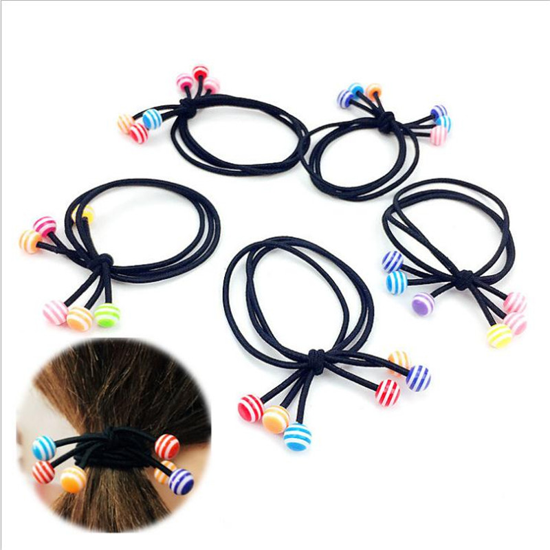 1PCS Colorful Stripe Bead Hair Accessories For Women Headband,Elastic Bands For Hair For Girls,Hair Band Hair Ornaments For Kids bead