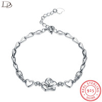 DODO 925 Sterling Silver Crystal Charm Bracelet For Women Zircon Button I 3 U Flower Heart