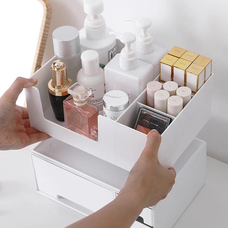Boîte de rangement cosmétique en plastique avec petit tiroir bijoux Nail Art articles divers conteneur de bureau rouge à lèvres maquillage rack - 5