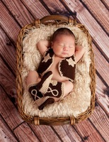 Free Shipping Hot Handmade Knitted Newborn Cowboy Jacket And Boots Photography Prop Equipment