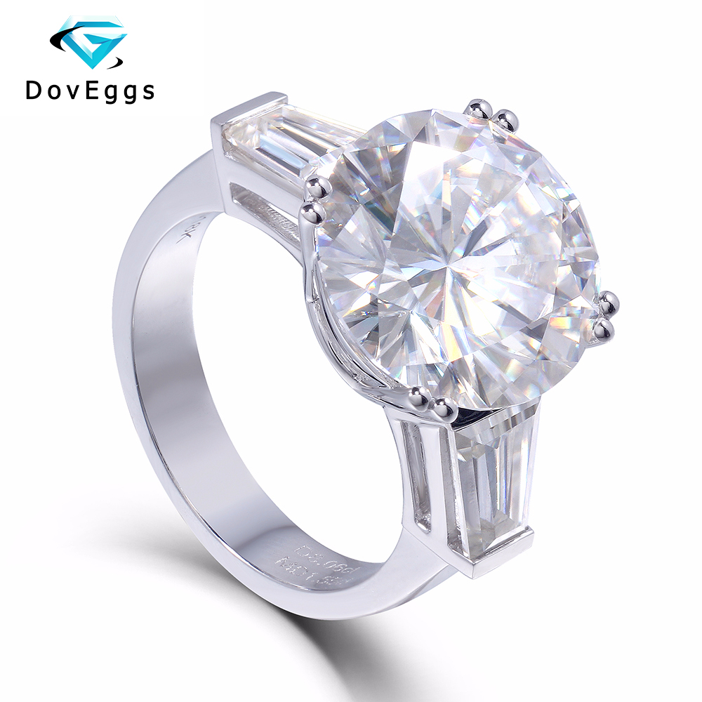 14K 585 White Gold 8 Carat Center 13mm F Color Round Brilliant Lab Grown Moissanite Diamond