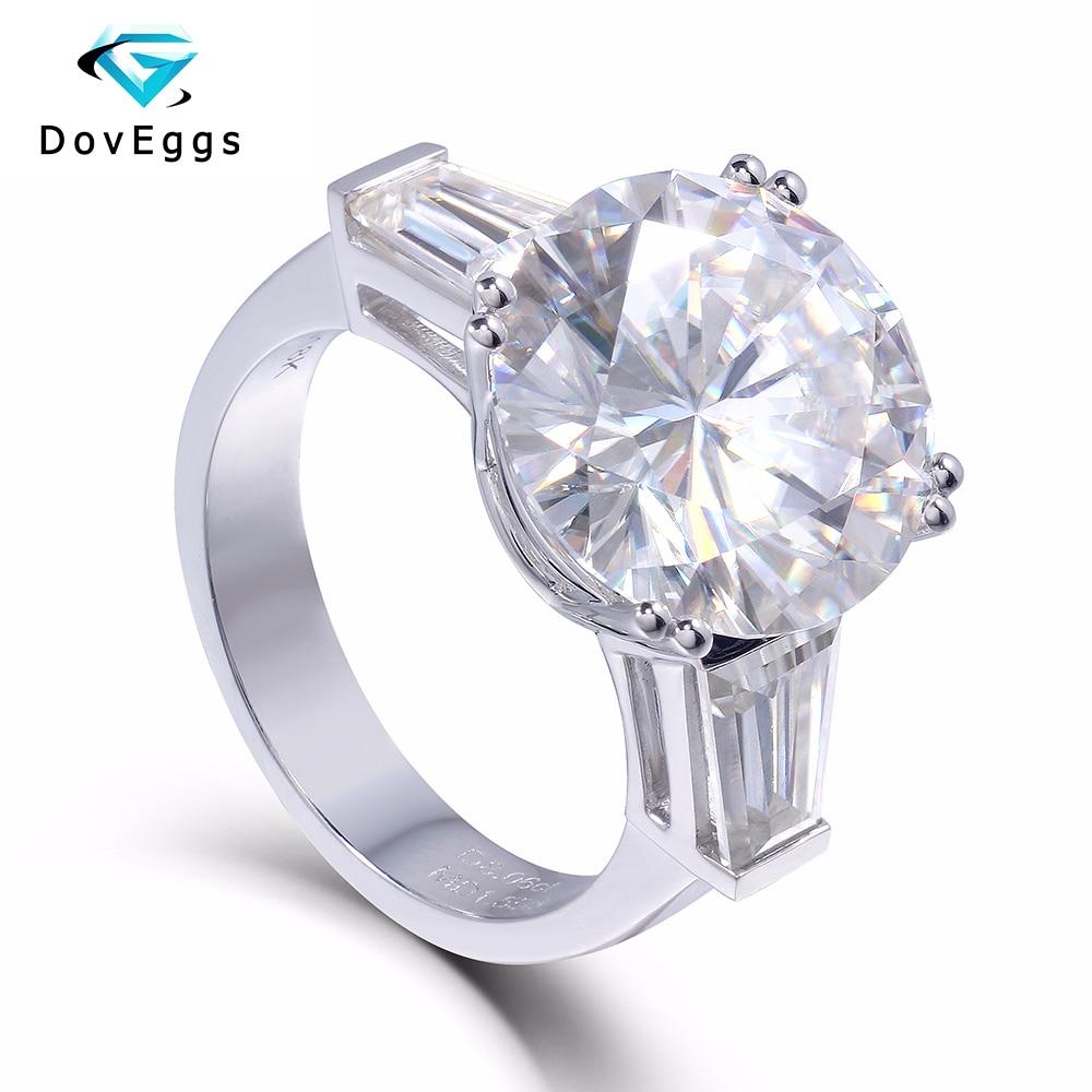 14K 585 White Gold 8 Carat Center 13mm F Color Round Brilliant Lab Grown Moissanite Diamond