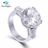 14K 585 White Gold 8 Carat Center 13mm F Color Round Brilliant Lab Grown Moissanite Diamond Engagement Ring 3 Stone Type