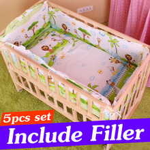 5PCS Cotton Baby Crib Bedding Set With Bumper Newborn Baby Bed Sets Baby Crib Bumper Baby Bed Bumper With Filler 90x50cm CP01S