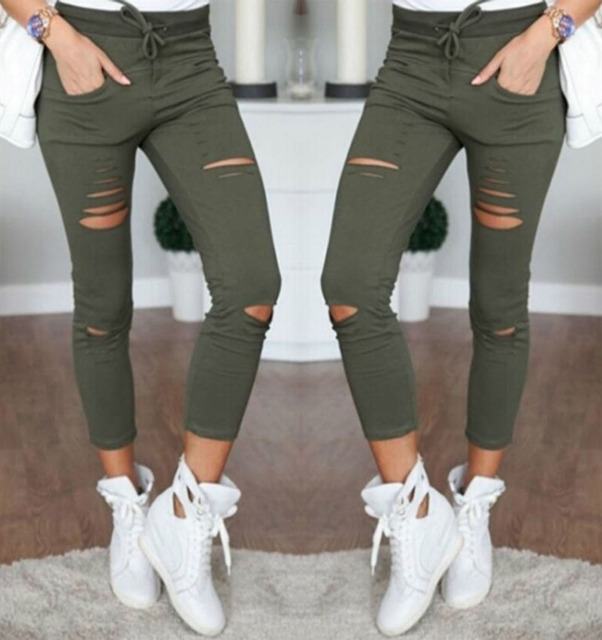 72be91dd483 2017 Sexy Women High Waist Denim Stretch Jeans Destroy Skinny Ripped  Distressed Hole Ankle Length Pants Trousers Army green