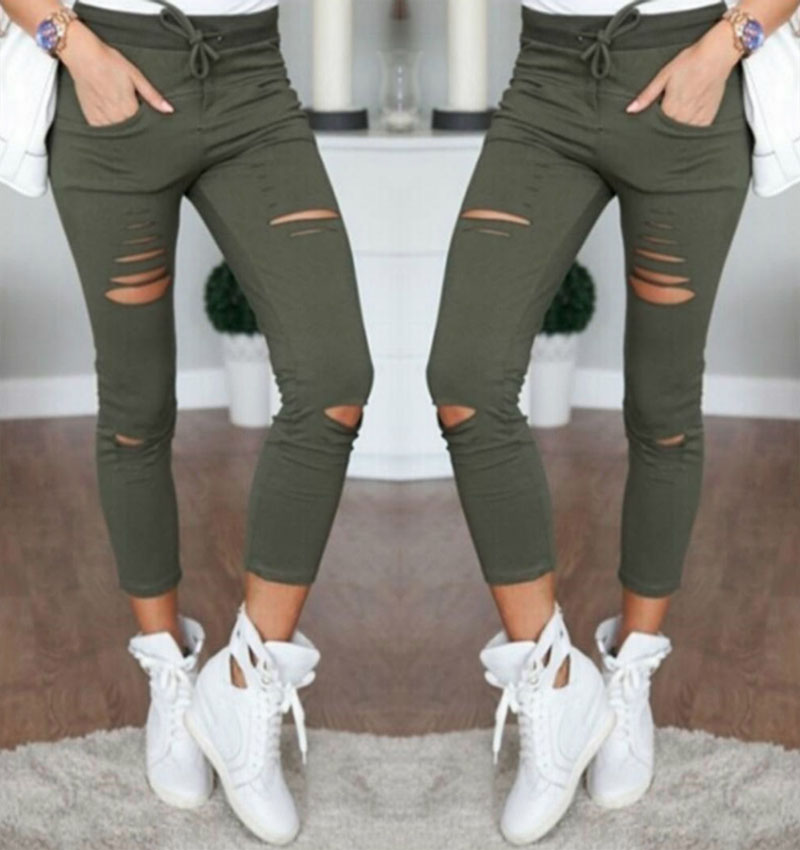 2018 Sexy Women High Waist Denim Stretch Jeans Destroy Skinny Ripped Distressed Hole Ankle Length Pants Trousers Army Green