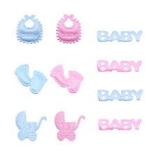 100 Uds. De confeti azul y rosa para mesa de Baby Shower, fiesta de cumpleaños para niños, chupete con huellas, decoración para Baby Shower, niño y niña