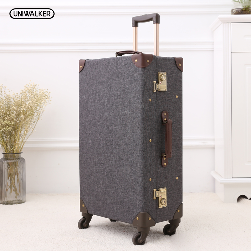 12 20 24 26 Gray Vintage Travel Suitcase Trolley Luggage Retro Trolley Luggage Suitcase Bags Free Shipping with TSA Lock vintage suitcase 20 26 pu leather travel suitcase scratch resistant rolling luggage bags suitcase with tsa lock