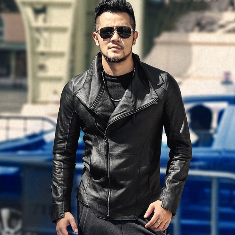 Gli uomini del nuovo di chiusura lampo di stile Britannico del cuoio genuino giacca di pelle di pecora di alta qualità di marca di modo di disegno degli uomini del rivestimento di cuoio casuale L1004