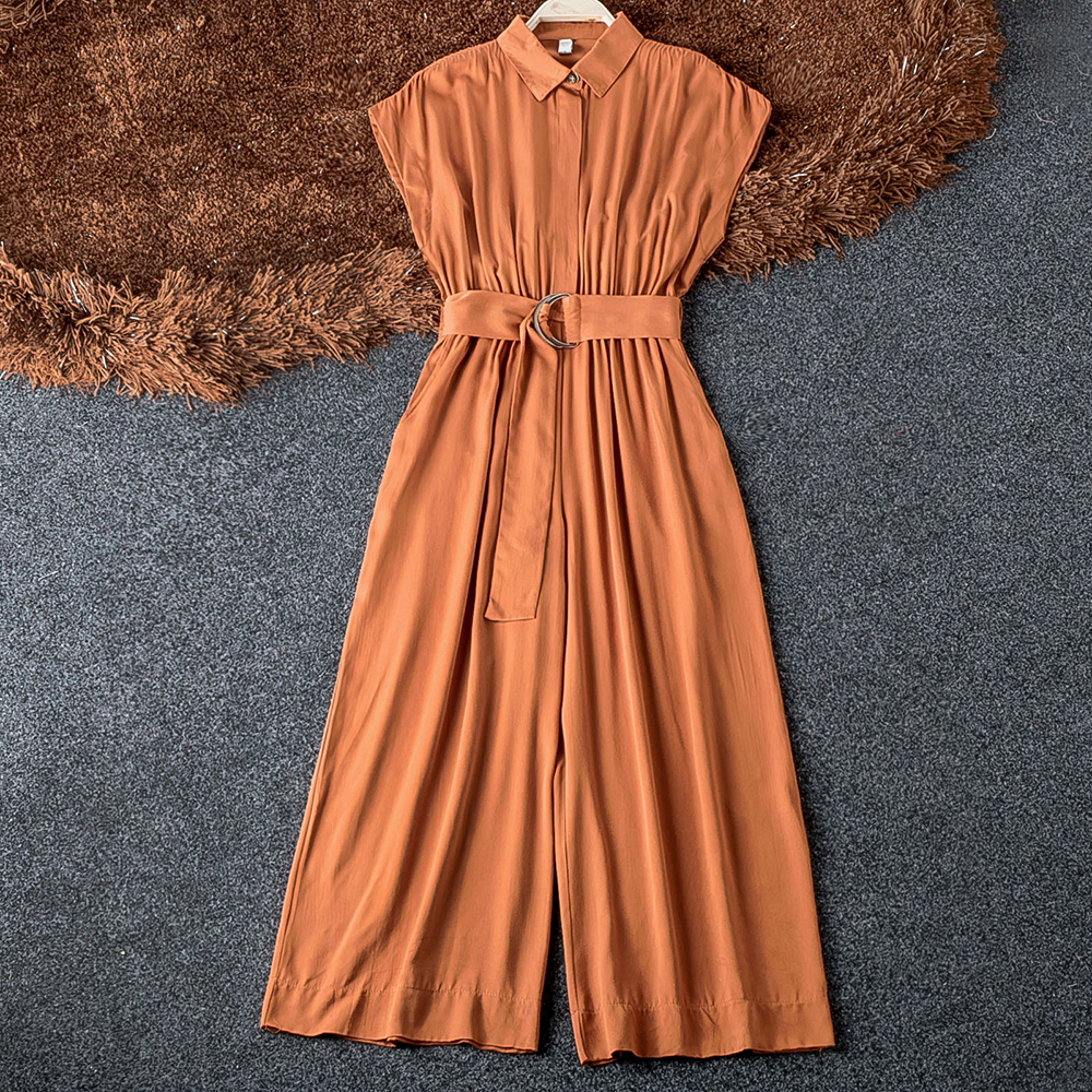 Good Quality Turn Down Collar Solid Jumpsuit Fashion 2019 Summer Sleeveless Belt Slim OL Elegant Slim Wide Leg Women Jumpsuits