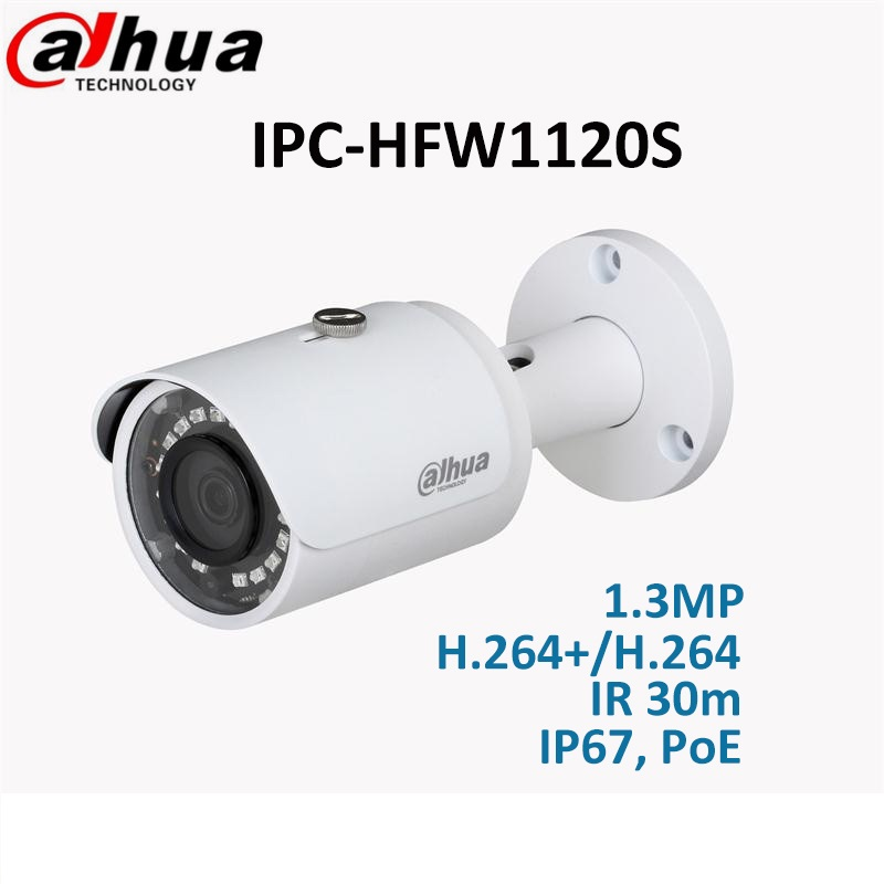Dahua 1.3MP IR Mini-Bullet IP Camera IPC-HFW1120S DMSS fixed lens 3.6mm IR 30m IP67, PoE Network CCTV amera dahua english vewrsion 4mp wdr network vandalproof bullet ip camera with fixed lens ip67 ipc hfw4421e 3 6mm lens